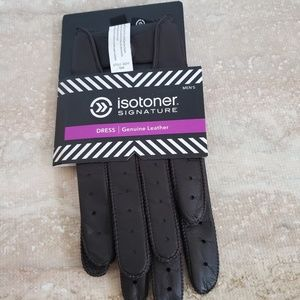 NWT Isotoner Brown Leather Dress Gloves Size M